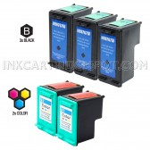 Compatible HP C8767WN (HP 96) and C9363WN (HP 97) Set of 5 Ink Cartridges: Includes 3 Black and 2 Color Cartridge