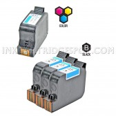 Compatible HP Set of 4 Ink Cartridges 3 Black HP 45 (51645A) and 1 Color HP 78 (C6578D)
