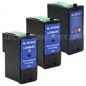 Lexmark 32 18C0032 & Lexmark 33 18C0033 Compatible Combo Pack - 2 Black & 2 Color Ink Cartridges