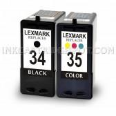 Lexmark 18C0034 (#34) and 18C0035 (#35) Set of 1 Black & 1 Color Ink Cartridges