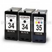 Lexmark 18C0034 (#34) and 18C0035 (#35) Set of 2 Black & 1 Color Ink Cartridges