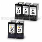 Lexmark 18C0034 (#34) and 18C0035 (#35) Set of 3 Black & 2 Color Ink Cartridges