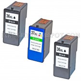Inkjet Supplies for Lexmark Printers - Replacement Set of 3 Ink Cartridges 2 Black Lexmark 36XL (18C2170) and 1 Color Lexmark 37XL (18C2180)