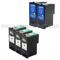 Compatible Lexmark 18Y0144(#44XL) and 18Y0143 (#43XL) Set of 5 Ink Cartridges: Includes 3 Black and 2 Color Cartridges