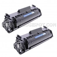 Compatible HP Q2612A Set of 2 Black Laser Toner Cartridges - 4000 Page Yield