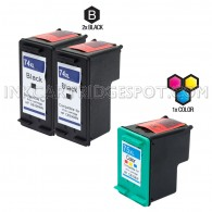 Compatible HP CB336WN HP 74XL and CB338WN HP 75XL Set of 3 Ink Cartridges: Includes 2 Black and 1 Color Cartridge