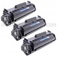 Compatible HP Q2612A Set of 3 Black Laser Toner Cartridges - 6000 Page Yield