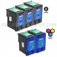 Compatible HP C8727AN HP 27 and C9352AN HP 22 Set of 5 Ink Cartridges: Includes 3 Black and 2 Color Cartridge