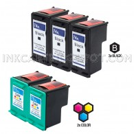 Compatible HP CB336WN HP 74XL and CB338WN HP 75XL Set of 5 Ink Cartridges: Includes 3 Black and 2 Color Cartridge