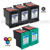 Compatible HP CB335WN HP 74 and CB337WN HP 75 Set of 5 Ink Cartridges: Includes 3 Black and 2 Color Cartridge