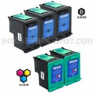HP C9362WN (HP 92) and C9361WN (HP 93) Set of 5 Compatible Ink Cartridges: Includes 3 Black and 2 Color Cartridge