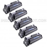 Compatible HP Q2612A Set of 5 Black Laser Toner Cartridges - 10000 Page Yield