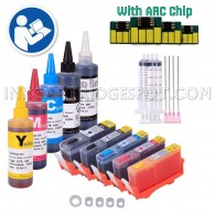 5 Pack Refillable Ink Cartridges for HP 564 HP564XL with Auto Reset Chips + 500ml Ink