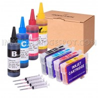 4 Refillable Cartridges for EPSON 124 T124 T1241 T1242 T1243 T1244 with 4x100ml Dye ink, Auto Reset Chips (ARC)