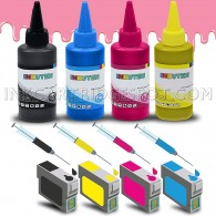4 Easy-to-refill Cartridges for EPSON #124 #125 T125 T124 EPSON NX125, NX127, NX130, NX230, NX420, NX530, NX625, WorkForce 320, 323, 325, 520 with 4x100ml Premium Edible ink (for Cake printing only)