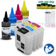 4 Refillable Cartridges for HP 10 11 C4844A C4836A C4837A C4838A Easy-to-refill With 4x100ml Premium Dye ink - for use in HP Officejet Pro K850 K850dn 9100 9110 9120 9130