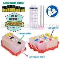 Refillable Cartridges Empty for HP 934 935 XL Officejet Pro 6830 6230 6812 6835 6815 6820 6220 With auto-reset chips + syringes