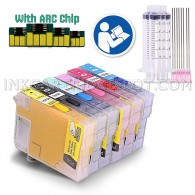 Sublimation Refillable Ink Cartridges Full Set For Epson 79 [T0791/2/3/4/5/6], Epson Artisan 1430, Stylus Photo 1400 Printers (for Sublimation Ink, Heat Transfer Printing)