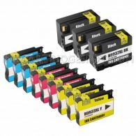 12 Pack Ink Cartridges Replacement for HP 932XL & 933XL - 3 Black CN053AN ink cartridge, 3 Cyan CN054AN, 3 Magenta CN055AN, 3 Yellow CN056ANM