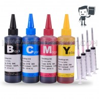 4x 100ml Premium Refill Kit with syringes for HP 21 and 22 Black and Color Ink Cartridges