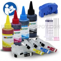 Refillable Cartridges for BROTHER LC103 LC101 LC105 LC107 + 4x100ml ink + syringes + Chip Resetter