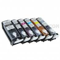 6 (Pre-Filled) Refillable Cartridges for Canon PGI-225 CLI-226 Auto Reset Chips (ARC)