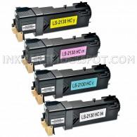 Compatible Dell 2135cn & 2130cn Set of 4 Laser Toner Cartridges: 1 each of Black T106C (330-1436), Cyan T107C (330-1437), Magenta T109C (330-1433), Yellow T108C (330-1438)