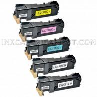 Compatible Dell 2135cn & 2130cn Set of 5 Laser Toner Cartridges: 2 Black T106C (330-1436), 1 Cyan T107C (330-1437), 1 Magenta T109C (330-1433), 1 Yellow T108C (330-1438)