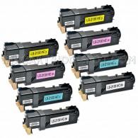 Compatible Dell 2135cn & 2130cn Set of 8 Laser Toner Cartridges: 2 Black T106C (330-1436), 2 Cyan T107C (330-1437), 2 Magenta T109C (330-1433), 2 Yellow T108C (330-1438)
