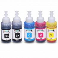 Set of 5 Refill Ecotank Ink Kit 70ml for Epson T6641 T6642 T6643 T6644 for Ecotank L100 L110 L120 L200 L210 L300 L350 L355 L550 L555 Printers