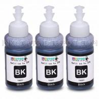 Set of 3 Refill Ink Kit 70ml for Epson T6641 Black Ecotank L100 L110 L120 L200 L210 L300 L350 L355 L550 L555