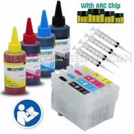 4 Refillable Cartridges for EPSON 200, T200 with 4x100ml Dye ink, Auto Reset Chips (ARC)