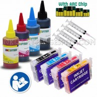 4 Refillable Cartridges for EPSON 200 Auto Reset Chips (Pre-filled) with 4x100ml Dye ink, Auto Reset Chips (ARC)