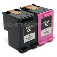 Compatible HP CC640WN (60) and CC643WN (60) Set of 2 Ink Cartridges: Includes 1 Black and 1 Color Cartridge