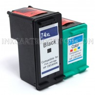 HP 74XL CB336WN & HP 75XL CB338WN Compatible Combo Pack - 1 Black & 1 Color Ink Cartridges