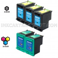 Compatible HP C8765WN (HP 94) and C8766WN (HP 95) Set of 5 Ink Cartridges: Includes 3 Black and 2 Color Cartridge