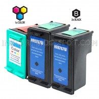 Compatible HP C8767WN (HP 96) and C9363WN (HP 97) Set of 3 Ink Cartridges: Includes 2 Black and 1 Color Cartridge