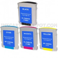 4 PACK:  HP Compatible C4844A ,C4836A (HP 11 Cyan) ,C4838A (HP 11 yellow) ,C4837AN (HP 11 Magenta)