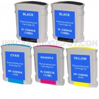 5 PACK:  HP Compatible 2-C4844A ,C4836A (HP 11 Cyan) ,C4838A (HP 11 yellow) ,C4837AN (HP 11 Magenta)