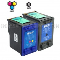 Compatible HP C8727AN HP 27 and C9352AN HP 22 Set of 2 Ink Cartridges