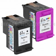 Replacement Hewlett Packard HP 61XL CR258BN CH564WN CH563WN (1 Black, 1 Tri-Color) High Yield Ink Cartridges