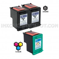 Compatible HP CB335WN HP 74 and CB337WN HP 75 Set of 3 Ink Cartridges: Includes 2 Black and 1 Color Cartridge