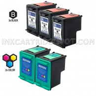 Compatible HP C9364WN (HP 98) and C8766WN (HP 95) Set of 5 Ink Cartridges: Includes 3 Black and 2 Color Cartridge