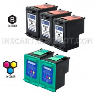 Compatible HP C9364WN (HP 98) and C9361WN (HP 93) Set of 5 Ink Cartridges: Includes 3 Black and 2 Color Cartridge