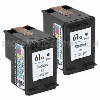 2 Pack HP C2P81BN CH563WN (HP 61XL) High Yield Black Replacement Ink Cartridges