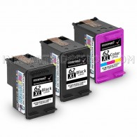 Replacement Hewlett Packard HP 62XL C2P07AN C2P05AN (2 Black, 1 Tri-Color) High Yield Ink Cartridges