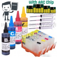 4 Refillable Cartridges for HP 934 HP 935 934XL 935XL with 4x100ml Dye ink, Auto Reset Chips (ARC)