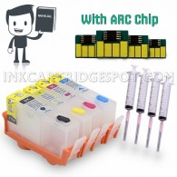 4 Refillable (Empty) Cartridges for HP 934, HP 934XL, HP 935, HP 935XL Auto Reset Chips (ARC)