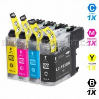 Compatible Brother LC103XL LC101 Set of 4 High Yield Ink Cartridges: 1 Black & 1 each of Cyan / Magenta / Yellow