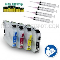 4 Refillable Cartridges for Brother LC103 LC101 LC105 LC107 with Auto Reset Chips (Empty)